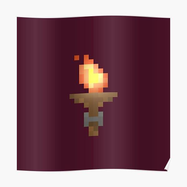 Pixel Art Dungeon Torch Poster