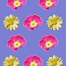 Pink And Yellow Flower Design On Purple by hurmerinta