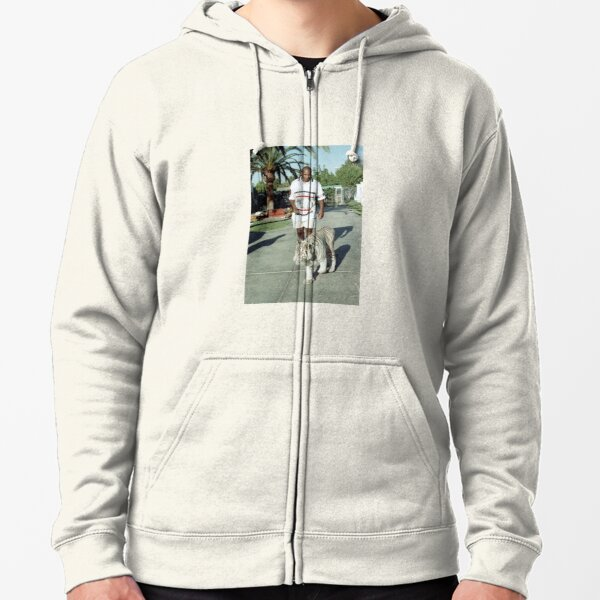 Mike Tyson walking his tiger on a lead Zipped Hoodie