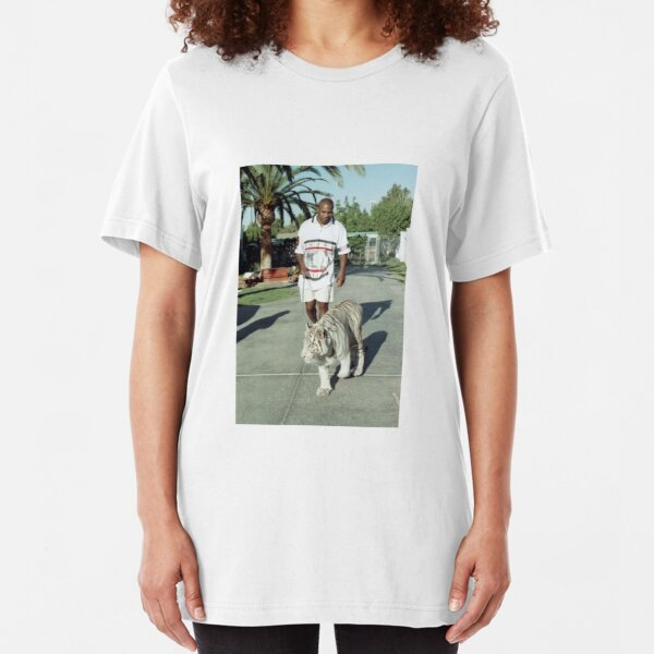 Mike Tyson walking his tiger on a lead Slim Fit T-Shirt