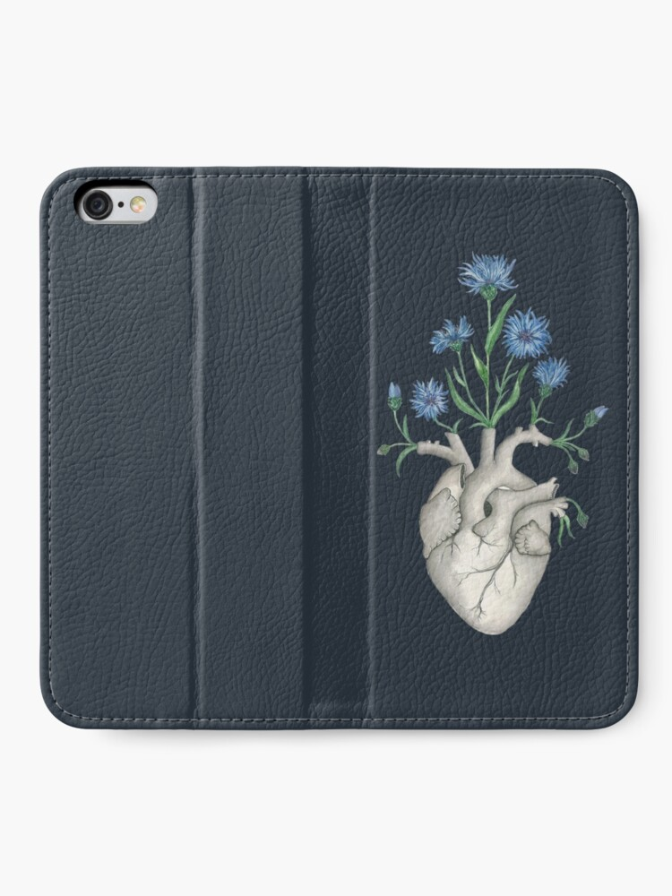 Alternate view of Floral Heart: Human Anatomy Cornflower Flower Halloween Gift iPhone Wallet