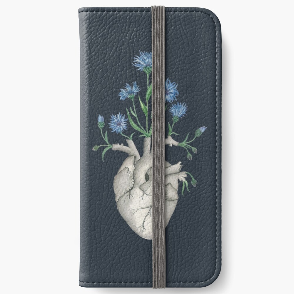 Floral Heart: Human Anatomy Cornflower Flower Halloween Gift iPhone Wallet