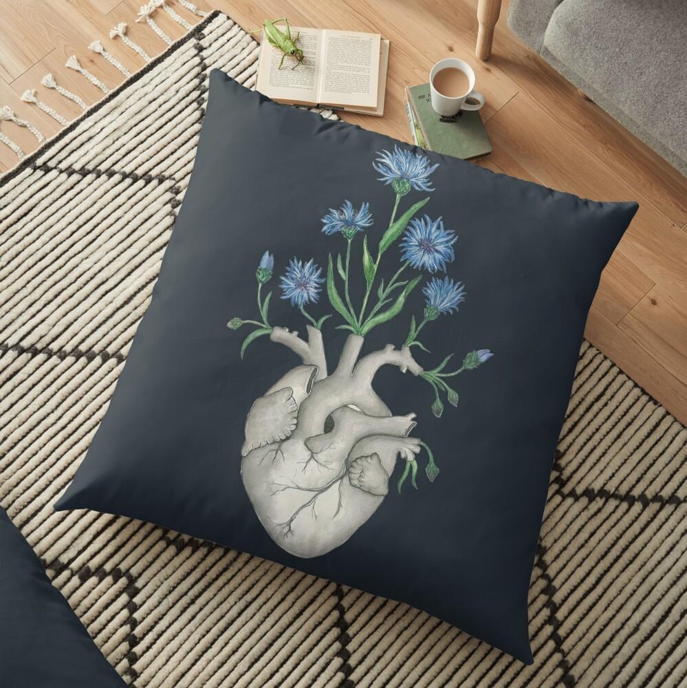 Floral Heart: Human Anatomy Cornflower Flower Halloween Gift Floor Pillow