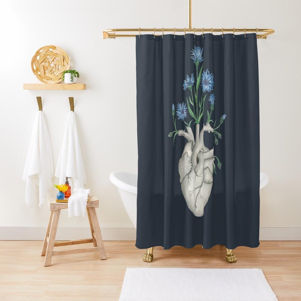 Floral Heart: Human Anatomy Cornflower Flower Halloween Gift Shower Curtain