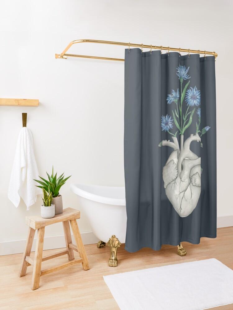 Alternate view of Floral Heart: Human Anatomy Cornflower Flower Halloween Gift Shower Curtain