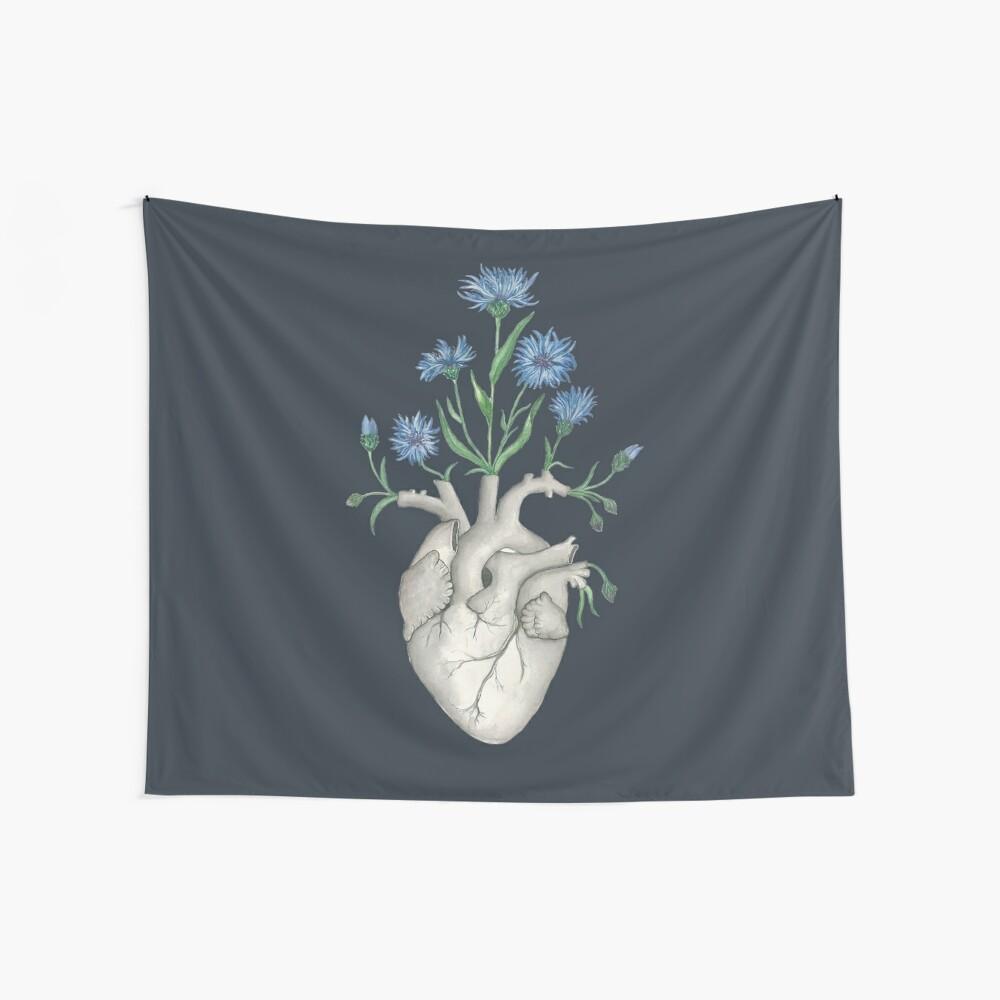 Floral Heart: Human Anatomy Cornflower Flower Halloween Gift Wall Tapestry
