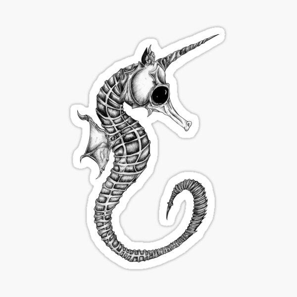 Bone animals: seahorse, absurd art Sticker