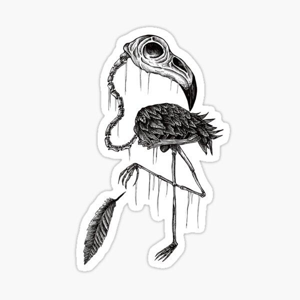 Bone animals: Flamingo, Absurd Art Sticker