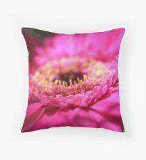 Pink Red Gerbera Macro Photo Throw Pillow