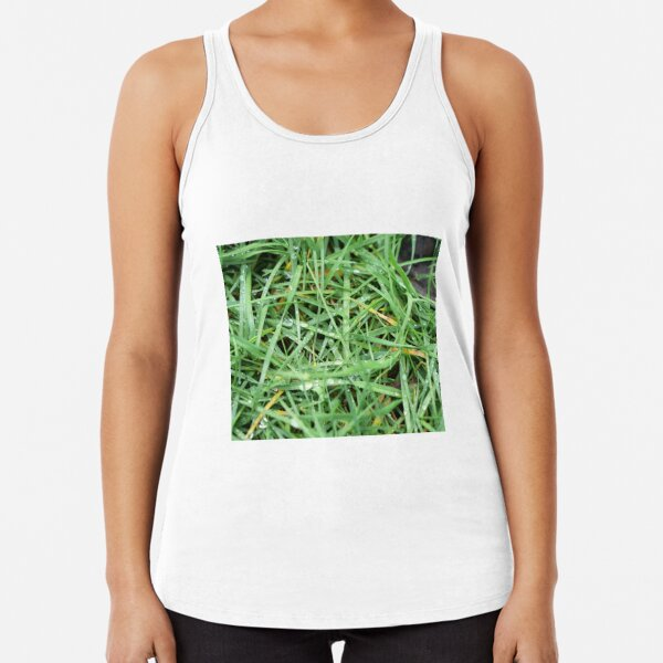 Morning dew drops on the grass Racerback Tank Top