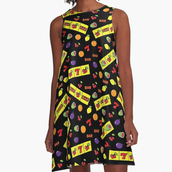 Casino Lucky Slots Cherry Melon Lemon Fruit Pattern A-Line Dress