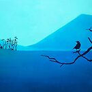 Blue mountain bird by ColorsHappiness