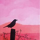 No bounderies, pink sky. Handpainted, acrylic on cotton.  by ColorsHappiness