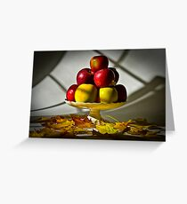Fruit bowl with autumn leaves - Print Greeting Card