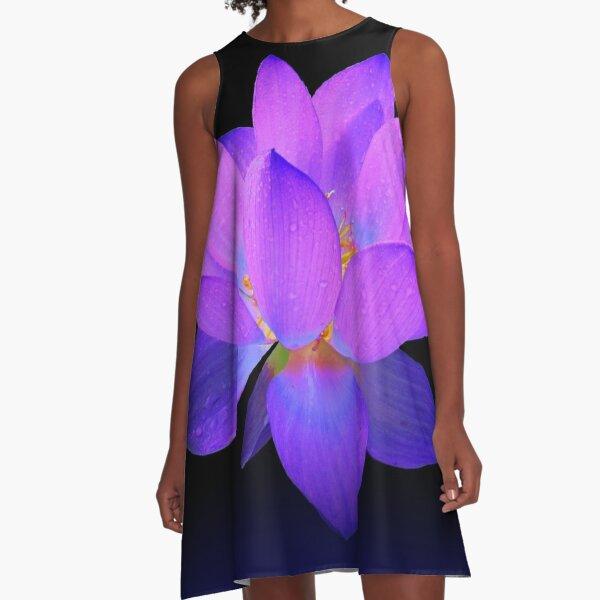 Blue LiGHT LOTUS A-Line Dress