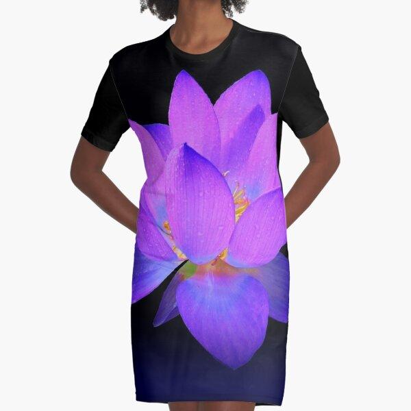 Blauer Leuchtender Lotos T-Shirt Kleid