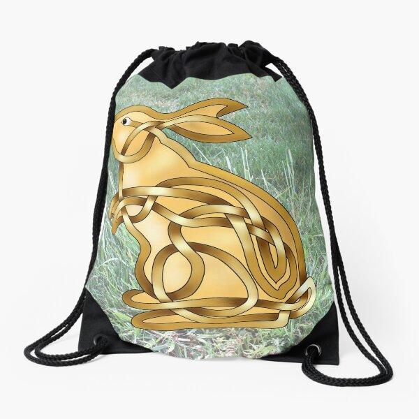 Celtic Knot Standing rabbit Drawstring Bag