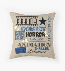 Cojín Película Cine Cine Película Genre ticket Pillow-Blue