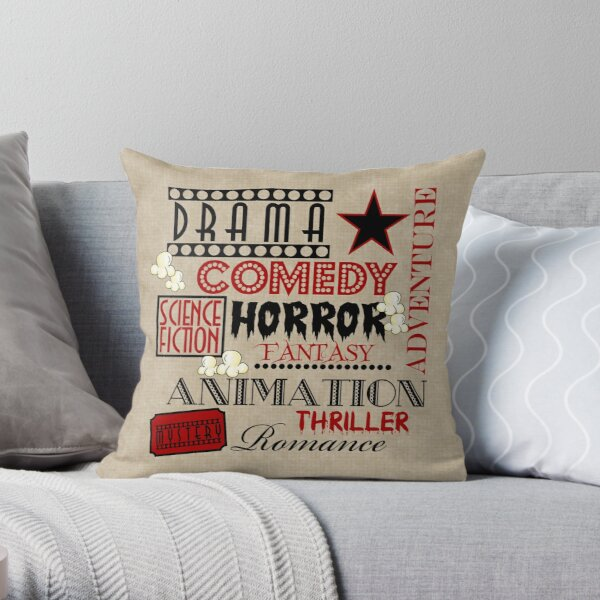 Movie Theater Cinema Movie Genre ticket Pillow-Red Throw Pillow