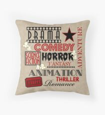 Movie Theater Cinema Movie Genre ticket Pillow-Red Throw Pillow
