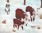 """First Snow"" ~ Australian Shepherd ~ Oil Painting  by Barbara Applegate"