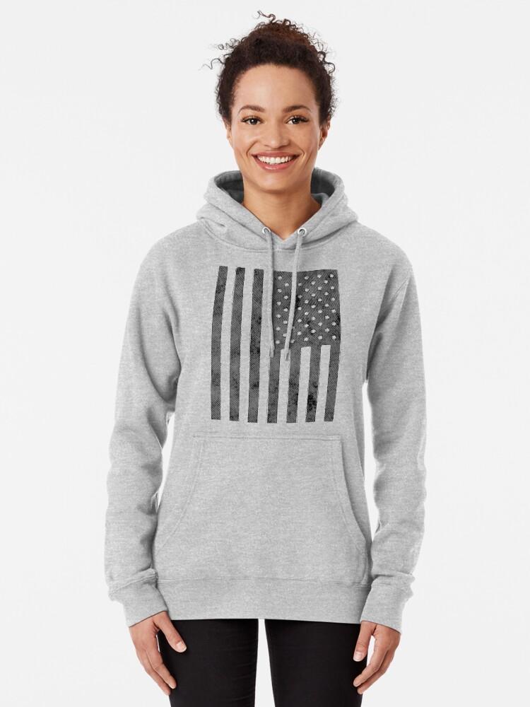 Alternative Ansicht von US-Flagge Grunge-Stil Hoodie