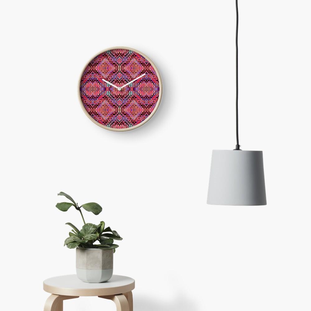 Shibori Folk Coral Clock
