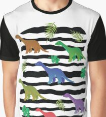 Colorful cartoon long neck dinosaurs on black and white wavy stripes Graphic T-Shirt