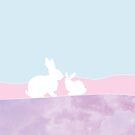 Two cute bunny's, mother and child. Perfect as a gift for the nursery. by ColorsHappiness