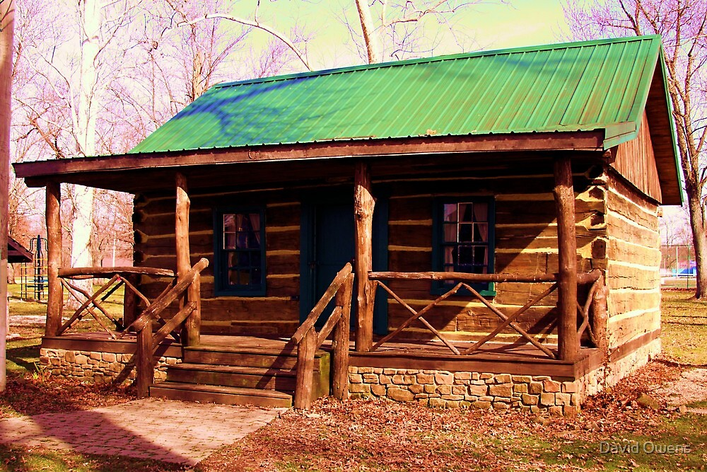Log Cabin in Humphreys Park in Linton, Indiana. by David Owens