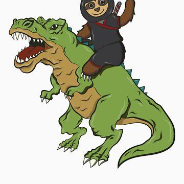 Ninja Sloth Riding T-Rex by rkhy