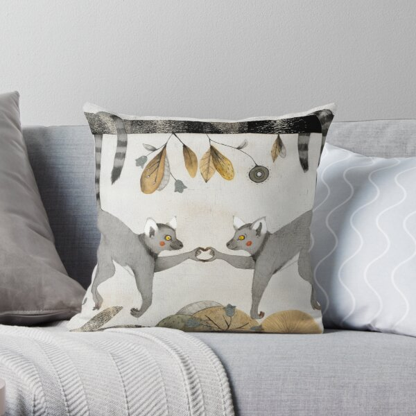 Lemurs In Love Throw Pillow
