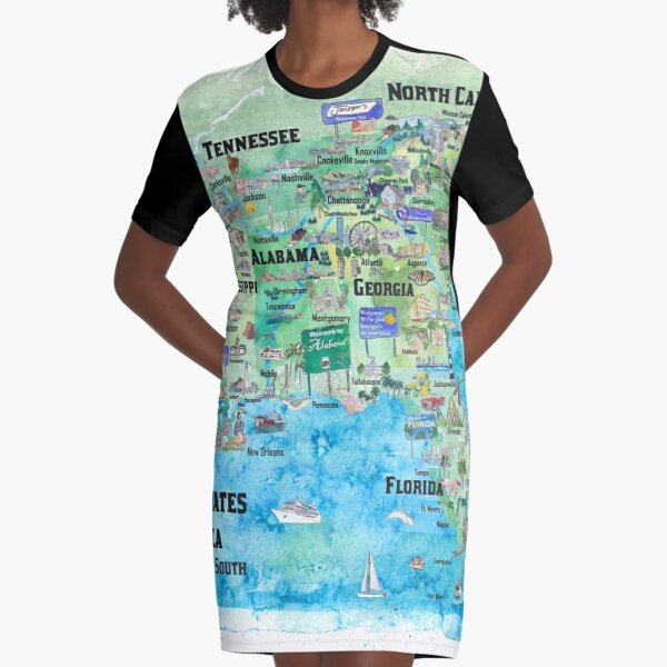 USA Southern States Travel Poster Map Florida Louisiana Mississippi Arkansas Carolinas Georgia Graphic T-Shirt Dress
