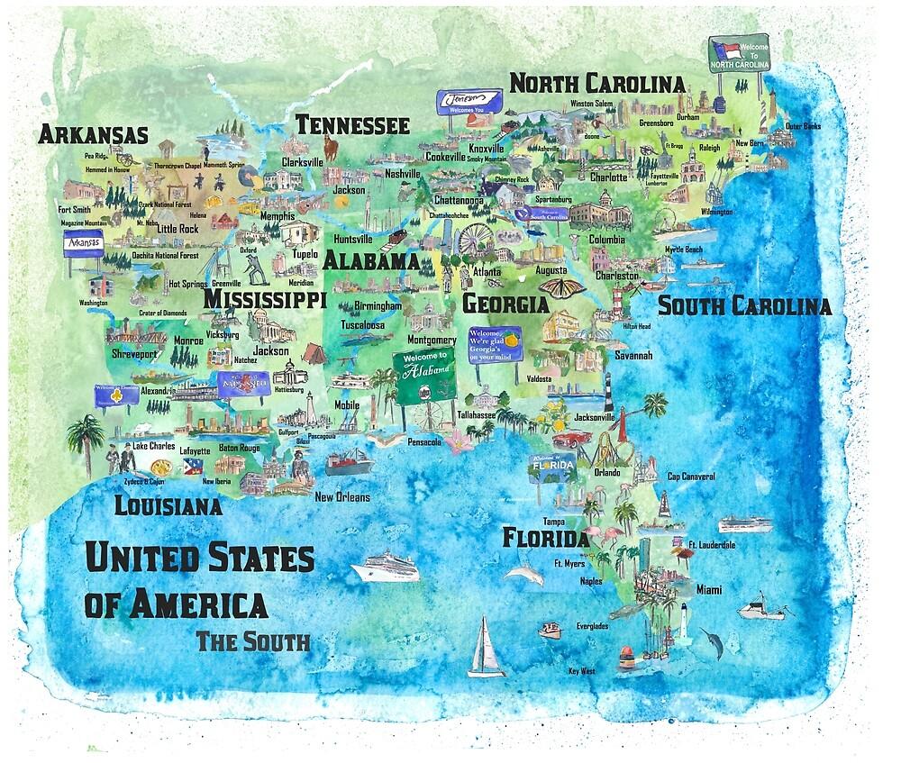 Map Of South Georgia Usa.Usa Southern States Travel Poster Map Florida Louisiana Mississippi