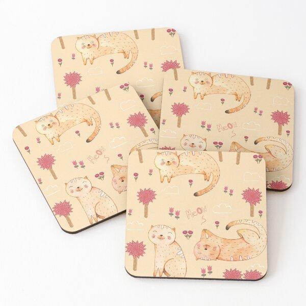 Orange Cat Pattern Coasters (Set of 4)