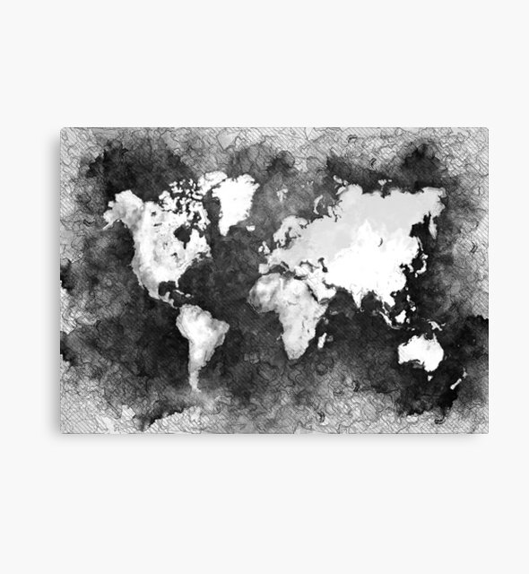 world map black and white #map #world by JBJart