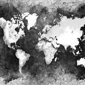 world map black and white #map #world by JBJart