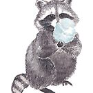 Raccoon with Cotton candy by Marcusnfriends