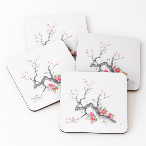 Cherry blossom branch sumi-e ink painting with bright pink flowers art print Coasters (Set of 4)