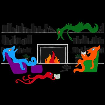 Happy Monsters by the Library Fireplace - Transparent Background  by GretaMonster