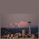 Space Needle and Mount Baker at Dusk by KateMcCSeattle