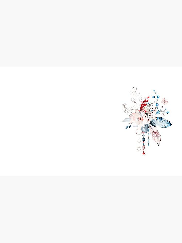 Blumenaquarell Boho roter rosa blauer Blumenstrauß von junkydotcom