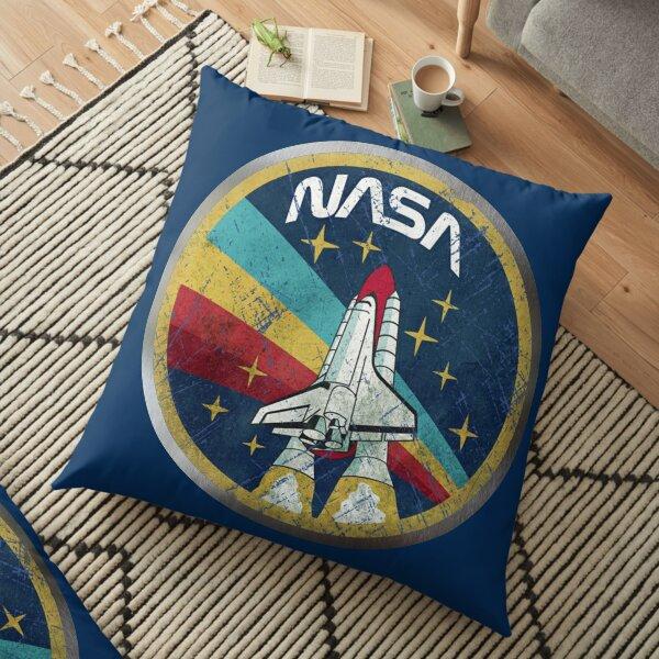 NASA Retro Vintage Logo with Metal Border Floor Pillow