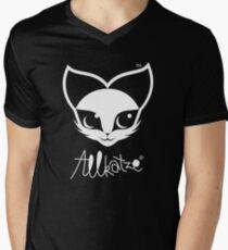 ALLKATZE * Space Cat - Weltraum-Katze - Chat d'Espace T-Shirt mit V-Ausschnitt für Männer