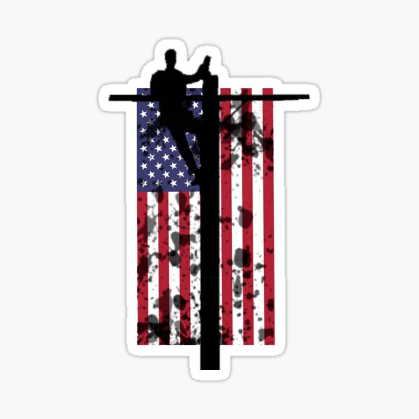 Cable Lineman on Pole American Flag Backdrop Sticker