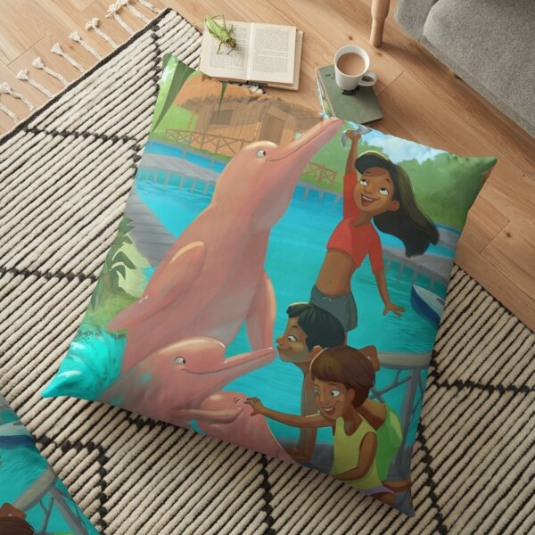 Playful Pink dolphins  Floor Pillow