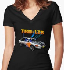 TRD Laser - 80's Style Bright Colour Women's Fitted V-Neck T-Shirt