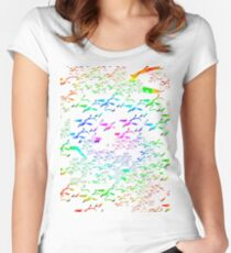 Swans a flying pattern, multi colour  Women's Fitted Scoop T-Shirt