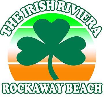 Rockaway Beach Queens NY The Irish Riviera Beach Funny Shamrock Retro by funnytshirtemp