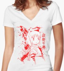 Spirited Ink Scroll Chihiro Women's Fitted V-Neck T-Shirt
